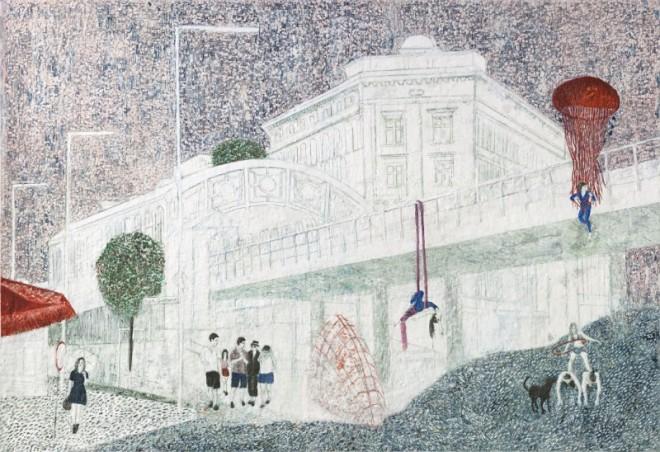 Görli, Paraffin und Öl auf Papier, 150 x 220 cm