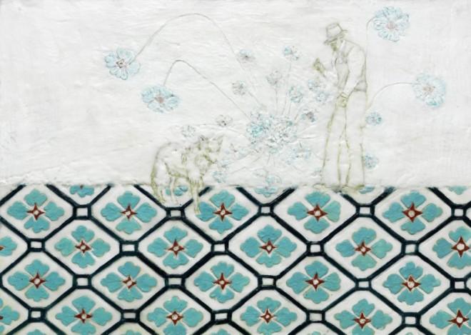 Was Beuys zu dem Koyoten sagte, Paraffin und Öl auf Pappe, 50 x 70 cm
