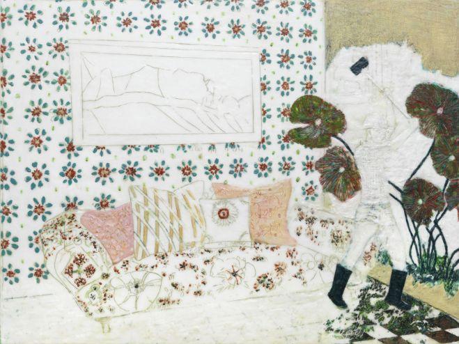 Durchbruch, Paraffin und Öl auf Nessel, 60 x 80 cm