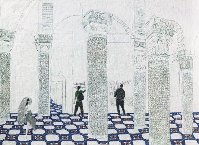 we came we come we will come, Paraffin und Öl auf Papier, 110 x 150 cm