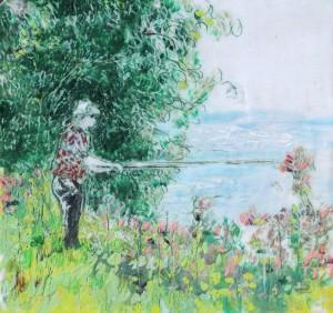 Angler 1, Paraffin und Öl auf Papier, 21,5 x 21,5 cm
