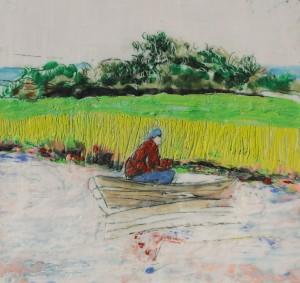 Angler 2, Paraffin und Öl auf Papier, 21,5 x 21,5 cm