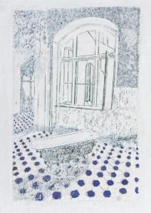 Baden 1, Paraffin und Öl auf Papier, 70 x 59 cm