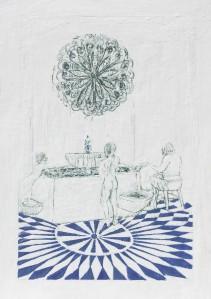 Baden 2, Paraffin und Öl auf Papier, 70 x 59 cm