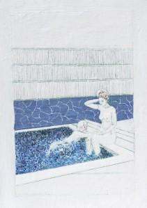 Baden 3, Paraffin und Öl auf Papier, 70 x 59 cm