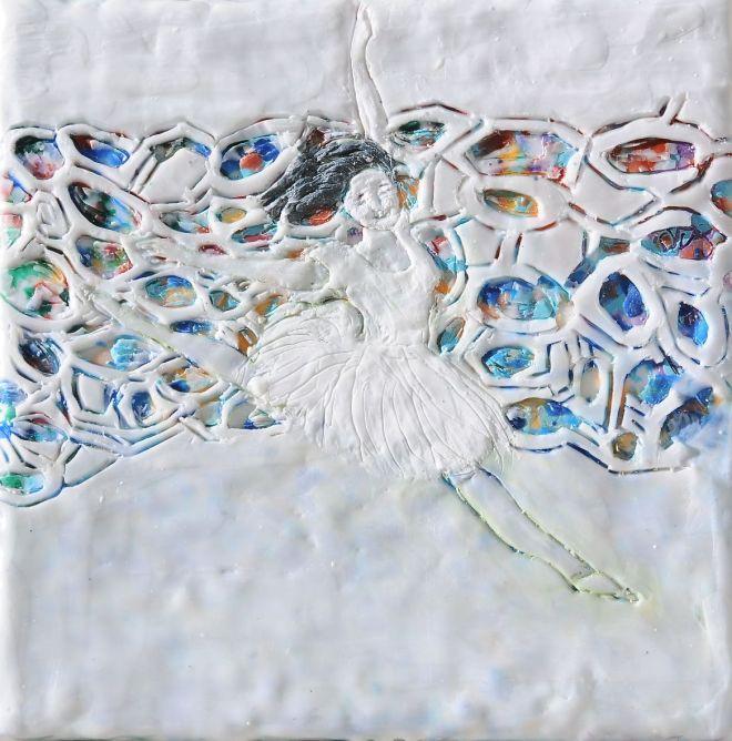 Ballettänzerin 1, Paraffin und Öl auf Nessel, 20 x 20 cm