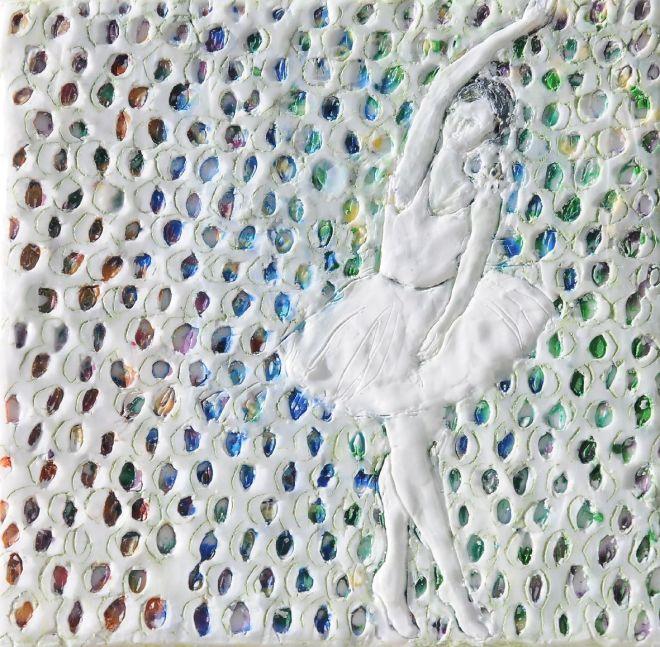 Ballettänzerin 3, Paraffin und Öl auf Nessel, 20 x 20 cm