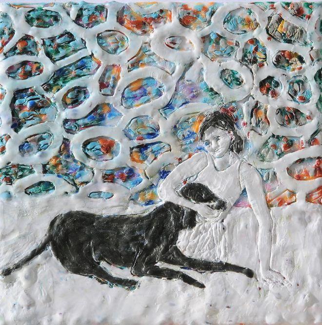 Ballettänzerin 4, Paraffin und Öl auf Nessel, 20 x 20 cm