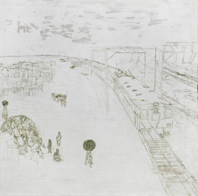 blinder Passagier, Paraffin und Öl auf Papier, 150 x 150 cm