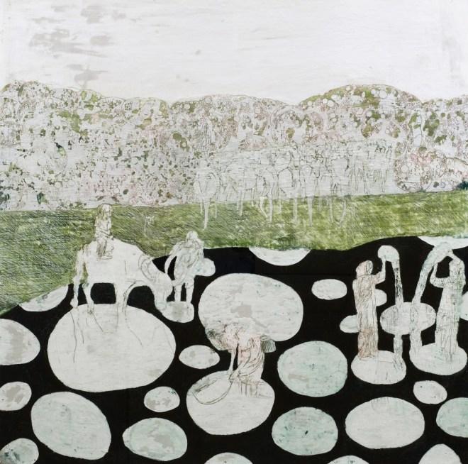 bodenlos, Paraffin und Öl auf Papier, 150 x 150 cm