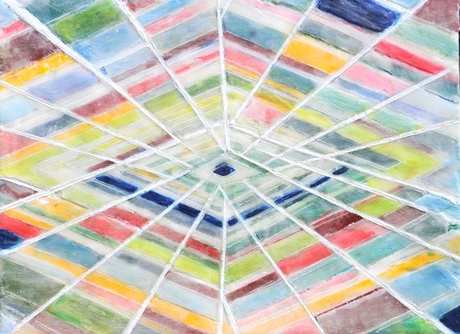 Chroniken 02, Paraffin und Öl auf Papier, 30 x 40 cm
