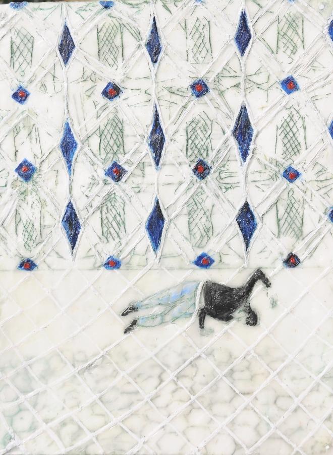 Chroniken 08, Paraffin und Öl auf Papier, 40 x 30 cm