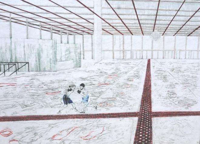 Die Kunst sich durchzuboxen, Paraffin und Öl auf Pappe, 107 x 150 cm