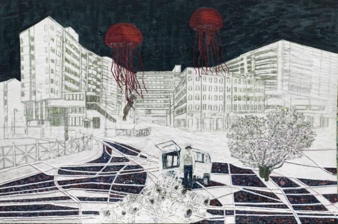 Die Kunst zu überleben mit Joseph Beuys, Paraffin und Öl auf Pappe, 100 x 150 cm