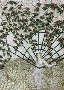 Dornröschen 1, Paraffin und Öl auf Nessel, 70 x 50 cm