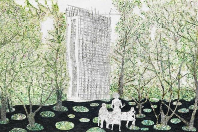 Einstürzende Neubauten, Paraffin und Öl auf Nessel, 100 x 150 cm
