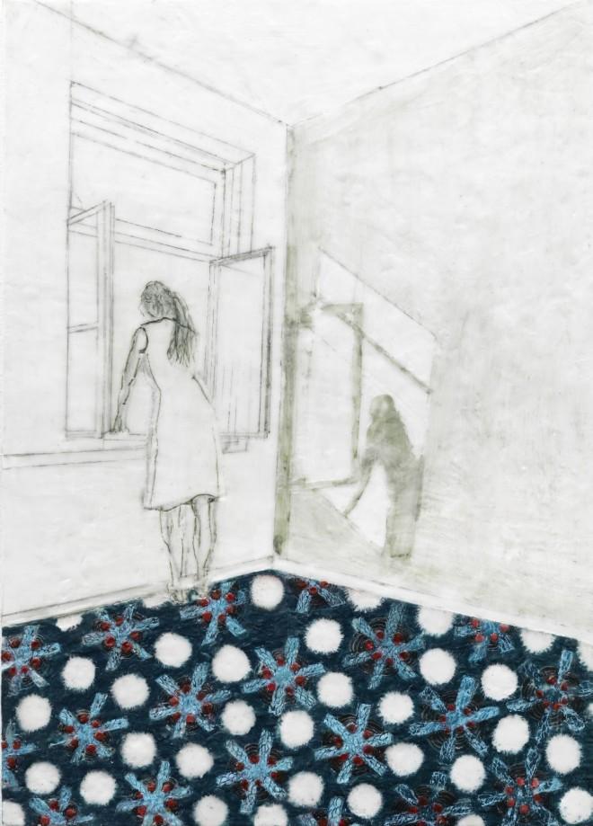 Frau am Fenster, Paraffin und Öl auf Nessel, 70 x 50 cm