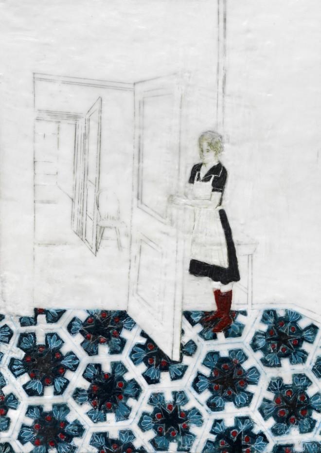 Frau mit Schürze, Paraffin und Öl auf Nessel, 70 x 50 cm