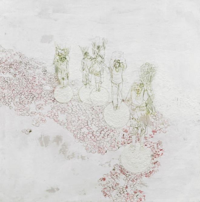 gehen, Paraffin und Öl auf Papier, 155  x 150 cm