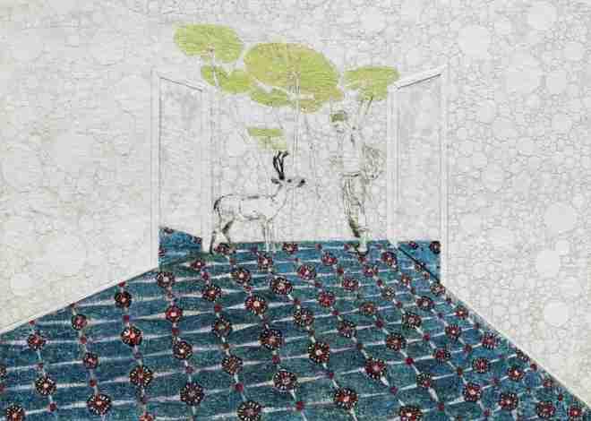 Der mit Hirsch spricht 1 (Hommage an Wolfgang Tillmans), Paraffin und Öl auf Papier, 120 x 150 cm