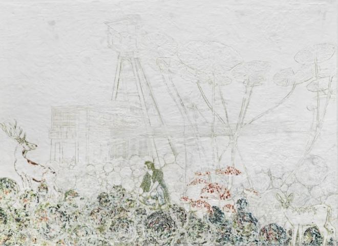Der mit Hirsch spricht 2 (Hommage an Wolfgang Tillmans), Paraffin und Öl auf Papier, 120 x 150 cm