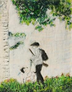 Jäger 4, Paraffin und Öl auf Papier, 27 x 21 cm