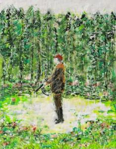Jäger 5, Paraffin und Öl auf Papier, 27 x 21 cm