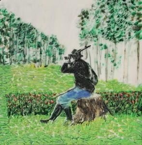 Jäger 6, Paraffin und Öl auf Papier, 21,5 x 21,5 cm