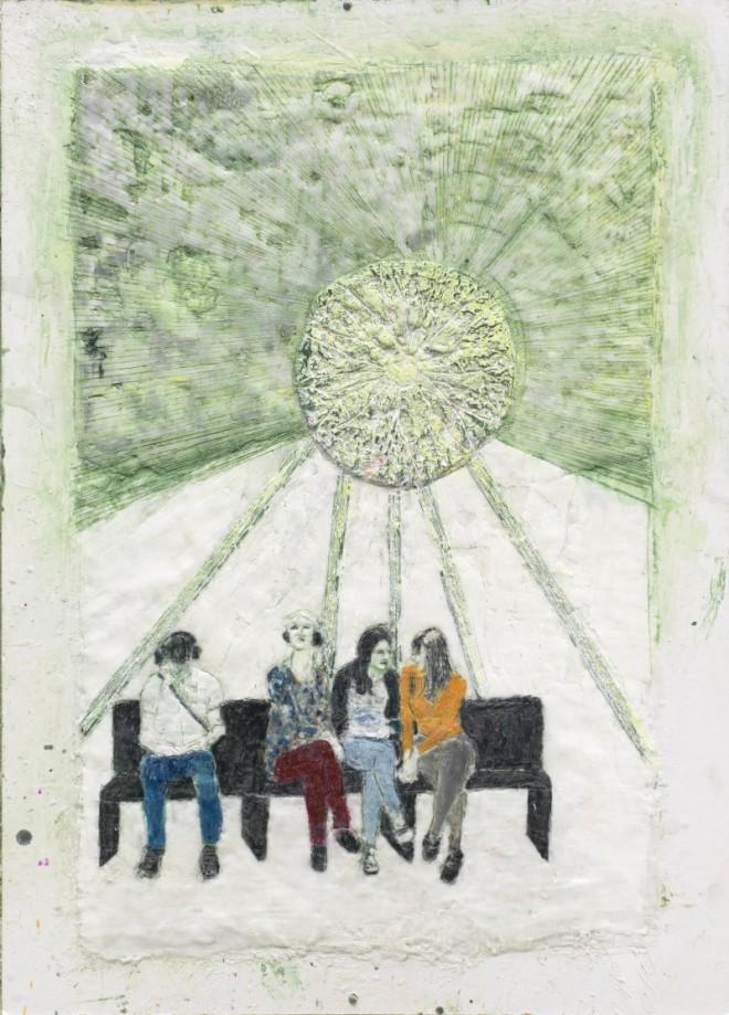 Kunst verstehen (auf der documenta), Paraffin und Öl auf Pappe, 60 x 40 cm