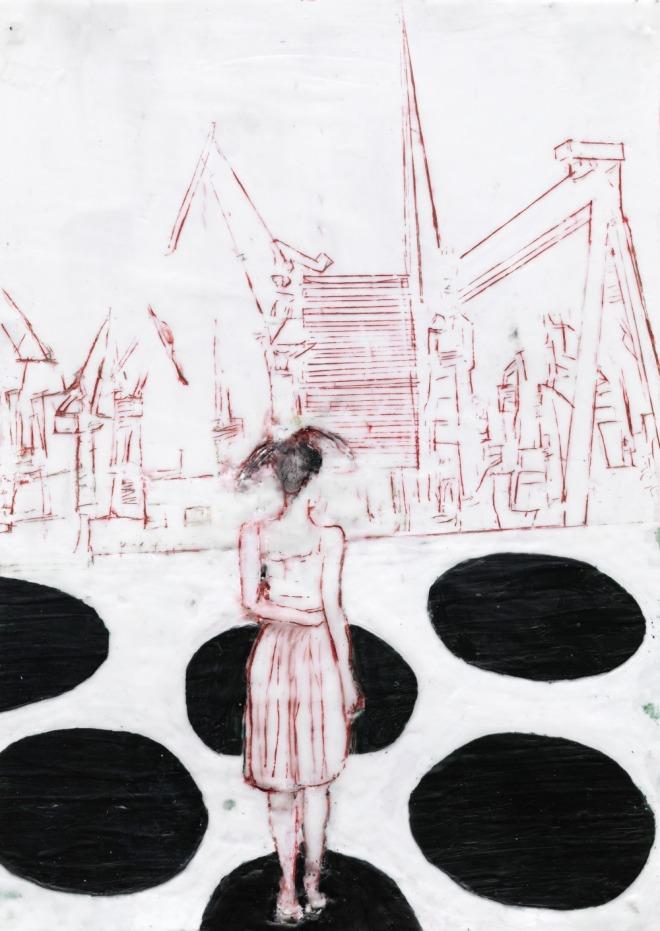 Mädchen 2, Paraffin und Öl auf Papier, 40 x 30 cm
