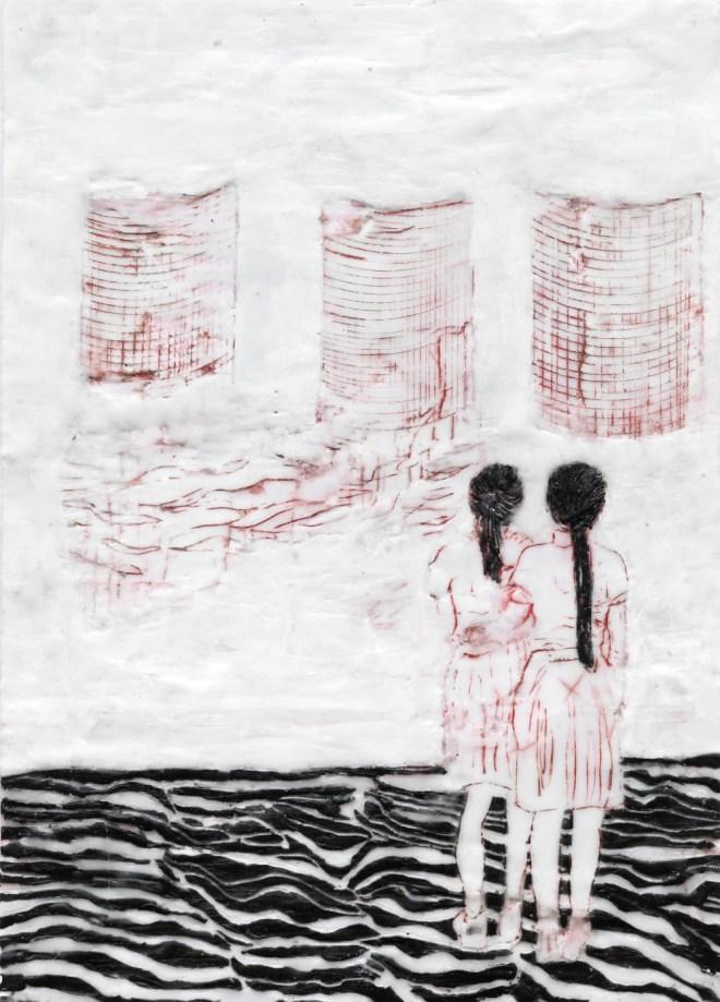 Mädchen 3, Paraffin und Öl auf Papier, 40 x 30 cm