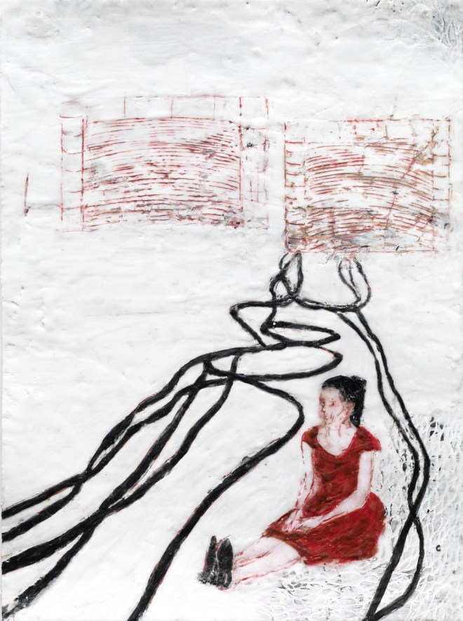 Mädchen 4, Paraffin und Öl auf Papier, 40 x 30 cm