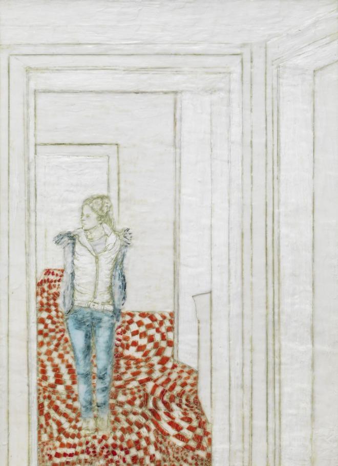 Mädchen im Durchgang, Paraffin und Öl auf Nessel, 70 x 50 cm