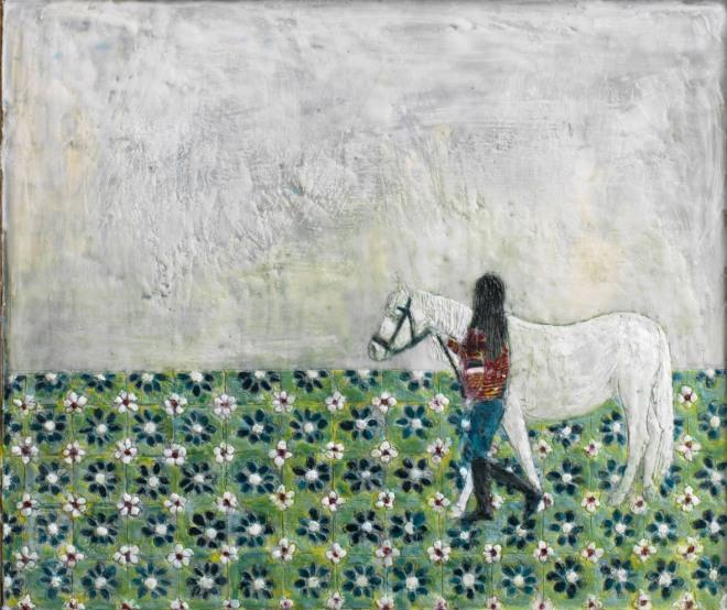Mädchen mit Pony 2, Paraffin und Öl auf Pappe, 40 x 48 cm