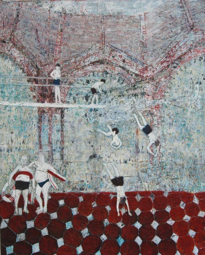 Mutprobe, Paraffin und Öl auf Nessel, 80 x 100 cm