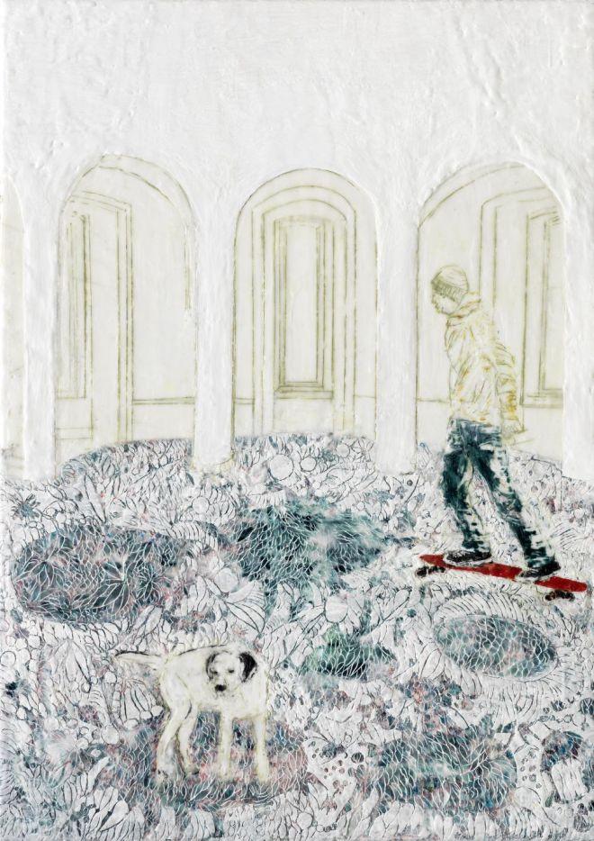Skaten, Paraffin und Öl auf Nessel, 70 x 50 cm