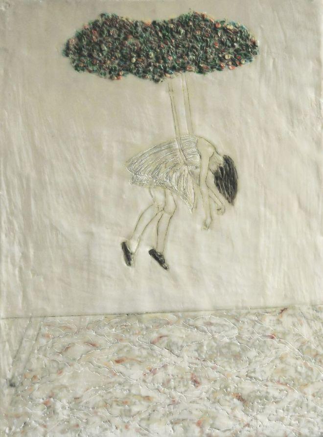 Spieltrieb 5, Paraffin und Öl auf Papier, 38 x 28 cm