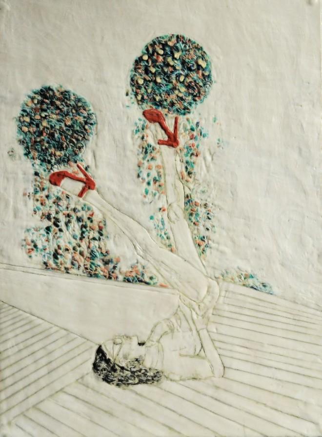 Spieltrieb 7, Paraffin und Öl auf Papier, 38 x 28 cm