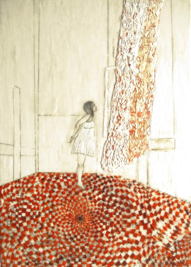 Vorhang, Paraffin und Öl auf Nessel, 70 x 50 cm