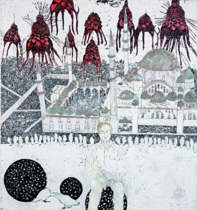 Zweifel, Paraffin und Öl auf Papier, 150 x 140 cm