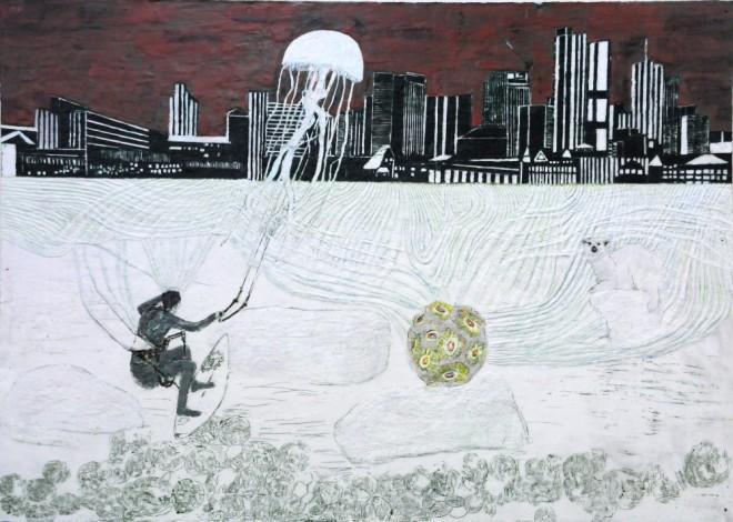 Kiten, Paraffin und Öl auf Pappe, 99 x 140 cm