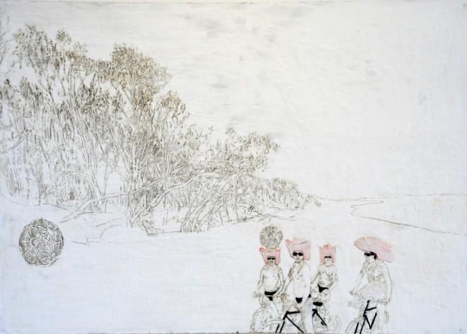 Cowboy und Kalkalgen, Paraffin und Öl auf Pappe, 99 x 140 cm