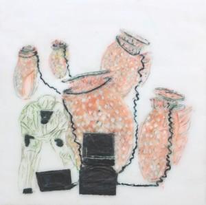 Forscher 1, Paraffin und Öl auf MDF, 30 x 30 cm