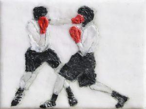 Boxer, Paraffin und Öl auf Nessel, 24,5 x 18 cm