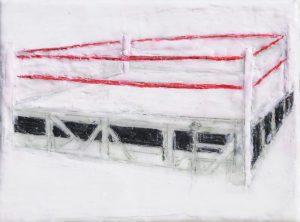 Boxring 2, Paraffin und Öl auf Nessel, 30 x 40 cm