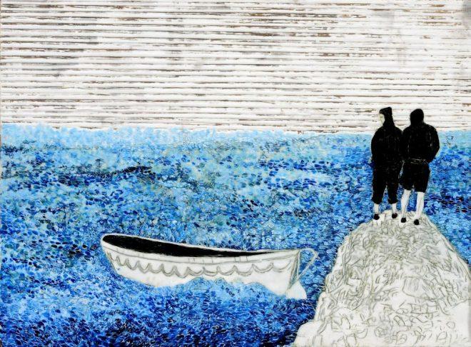 schwere See 2, Paraffin und Öl auf Pappe, 70 x 99 cm