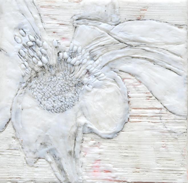Lost in translation 3, Paraffin und Öl auf Nessel, 20 x 20 cm, 2016