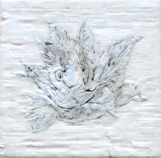 Lost in translation 6, Paraffin und Öl auf Nessel, 20 x 20 cm, 2016
