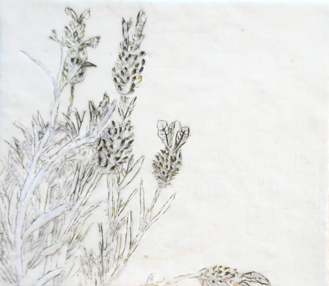 Über die Kunst Gras wachsen (zu) lassen 1, Paraffin und Öl auf Nessel, 35 x 40 cm, 2016