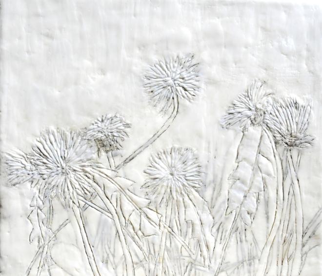 Über die Kunst Gras wachsen (zu) lassen 2, Paraffin und Öl auf Nessel, 35 x 40 cm, 2016